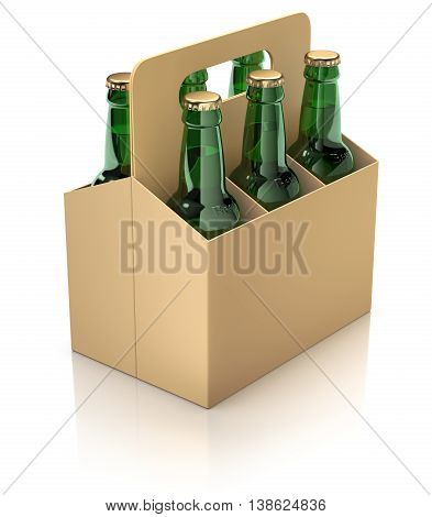 Six green bottles of beer in carton packaging on white reflective background - 3D illustration