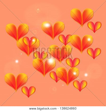 Floating and flying hearts. Tender hearts floating in the air