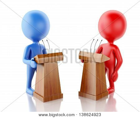 3d renderer image. People being opponents in a debate. Isolated white background.