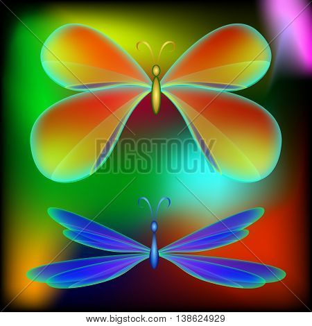 Butterfly and dragonfly. Volume butterfly and dragonfly with rainbow wings on a colored background