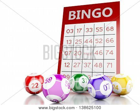 3d renderer image. Red bingo card with bingo balls. Isolated white background.