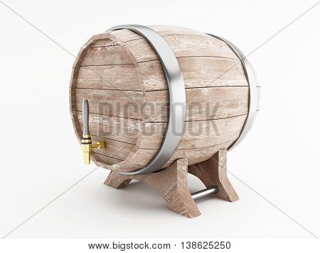 3d renderer image. Beer barrel. Isolated white background.