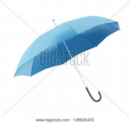 3d renderer image. Blue umbrella. Isolated white background.