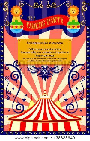 vector illustration of Vintage Circus Cartoon Poster Invitation for Party, Carnival and Advertisment