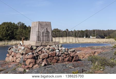 ECKERO, ALAND ON MAY 08. View of a landmark, Post distribution in the archipelago by row-boats during 16th - 18th on May 08, 2016 in Storby, Aland. Artwork and inscription. Editorial use.