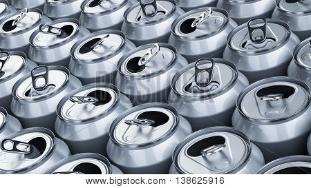 Rows of blank opened soda cans 3D illustration