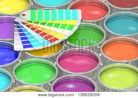 Paint cans background with color palette guide. 3D rendering