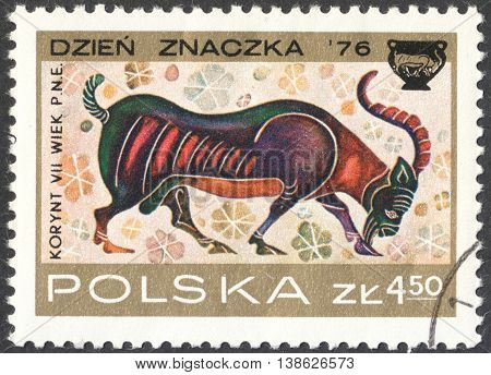 MOSCOW RUSSIA - CIRCA FEBRUARY 2016: a post stamp printed in POLAND shows an image of a goat the series