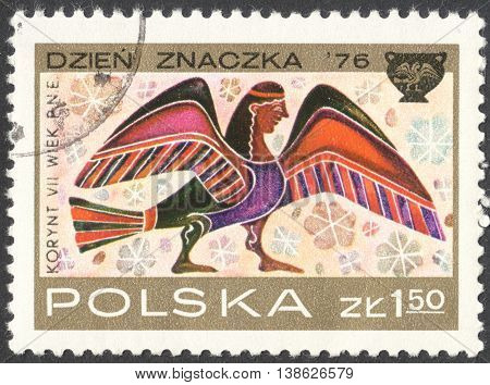 MOSCOW RUSSIA - CIRCA FEBRUARY 2016: a post stamp printed in POLAND shows an image of Siren the series