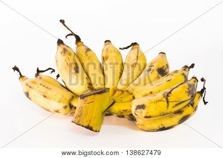 Banana ripe for eating and cooking on a white background.