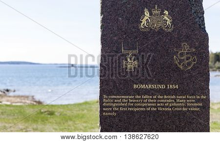 BOMARSUND, ALAND ON MAY 08. View of a landmark, memorial of the fallen British naval force on May 08, 2016 in Bomarsund, Aland. Granite stone with inscription. Editorial use.