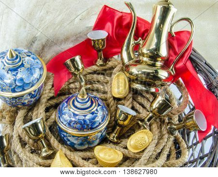 Benjarong Gold ingot Red ribbon bow Gold Chinese Gift sets