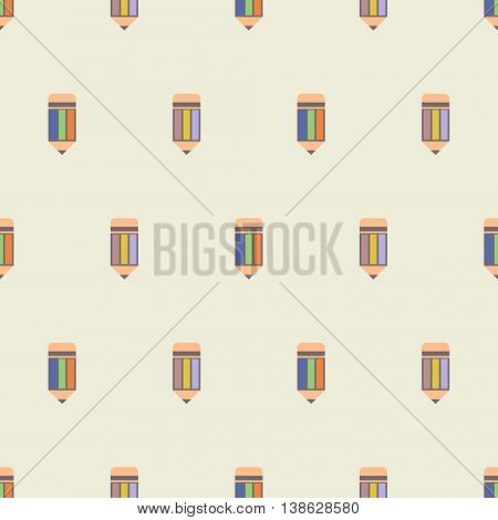 Seamless Vector Pattern, Symmetrical Light Background With Pencils.
