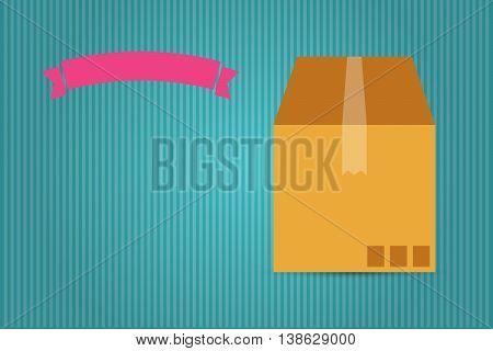 Cardboard Box And Pink Ribbon