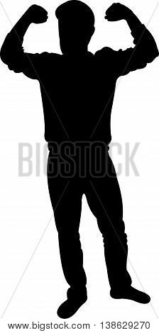 Silhouette of fitness man isolated on white background