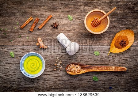 Composition Of Nature Spa Ingredients On The Dark Wooden Table. Spa And Wellness With Honey ,herbal