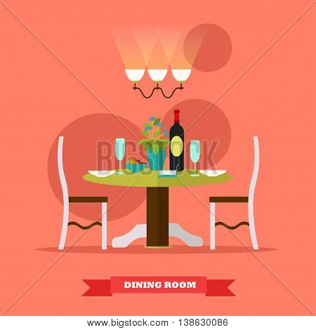Dining room interior. Vector illustration in flat style. Table with wine and glasses in restaurant.