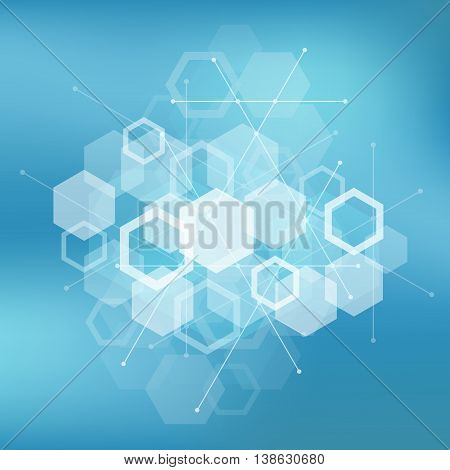 Background with transparent polygons, technology and science theme, poster and banner, footer, header design