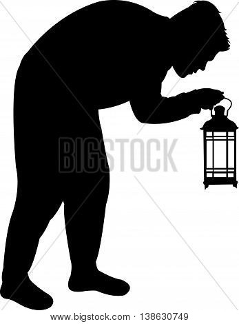 Man searching with lantern, black color silhouette vector