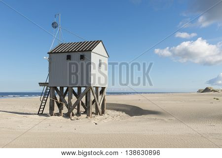 Famous authentic wooden beach hut for shelter on the island of Terschelling in the Netherlands.