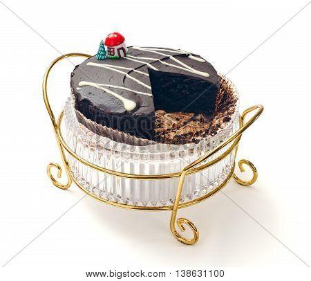 Chocolate mud cake on decorative crystal cake stand