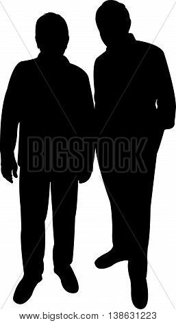 two poor men black color silhouette vector