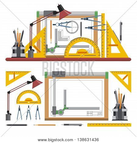 Architects and designer workplace vector illustration in flat style. Drawing tools and instruments isolated on white background. Drawing board.