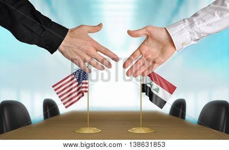 United States and Iraq diplomats shaking hands to agree deal, part 3D rendering
