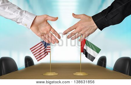United States and United Arab Emirates diplomats shaking hands to agree deal, part 3D rendering