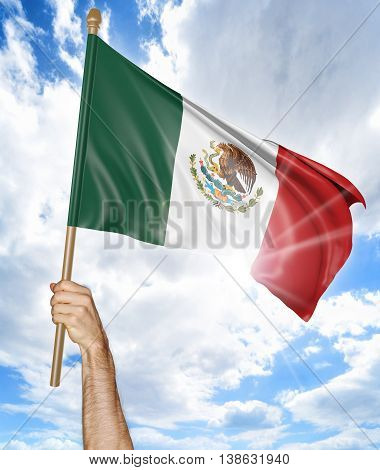 Person's hand holding the Mexican national flag and waving it in the sky, 3D rendering