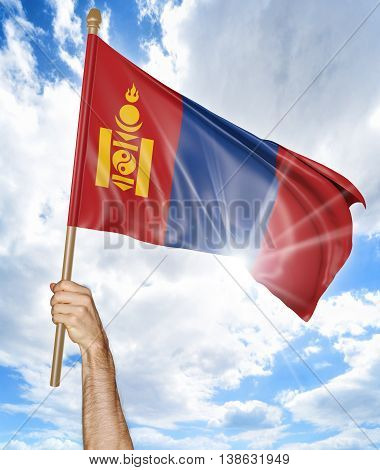 Person's hand holding the Mongolian national flag and waving it in the sky, 3D rendering