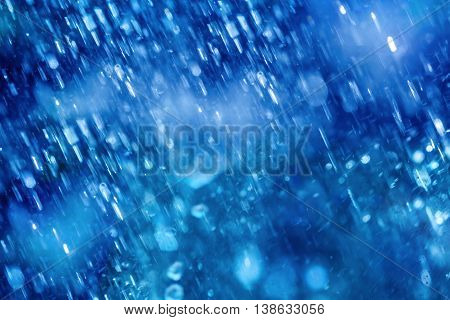 Abstract blure background of Blue Drops falling down of heavy rain weather