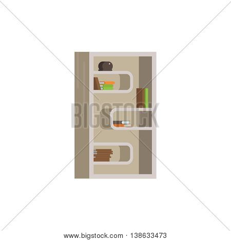 Vector flat illustration of bookcase on white background. Interior furniture element icon bookcase with shelves book isolated