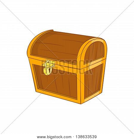 Wooden dower chest icon in cartoon style on a white background