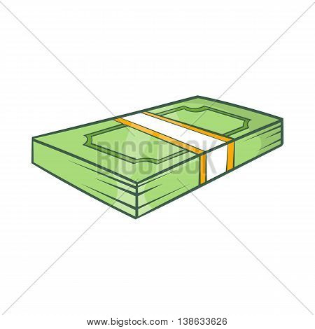 Packed dollars money icon in cartoon style on a white background