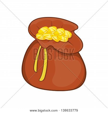 Brown money bag full of gold coins icon in cartoon style on a white background