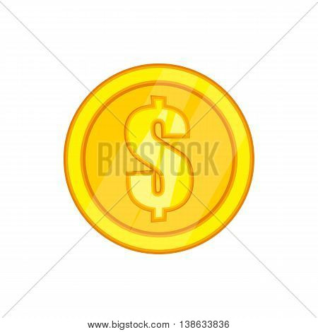 One gold coin icon in cartoon style on a white background