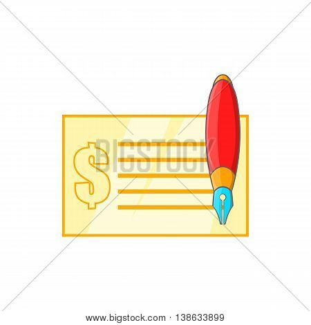 Check and pen icon in cartoon style on a white background