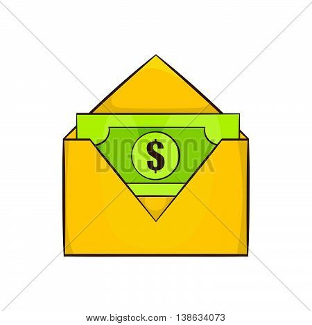 Dollar bills in yellow paper envelope icon in cartoon style on a white background