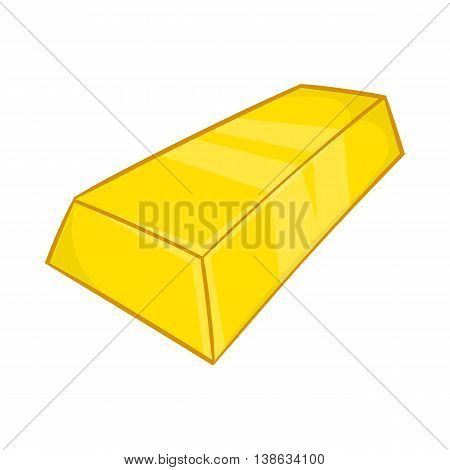 Gold ingot icon in cartoon style on a white background