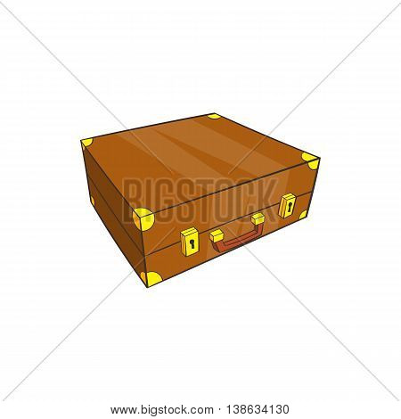 Vintage brown suitcase icon in cartoon style on a white background