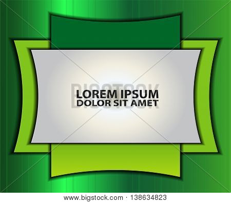 Green vector background curve silver grey line on dark space overlap layer graphic for text and message modern artwork design