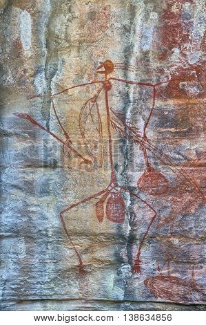 Ancient Aboriginal rock drawing in the Northern Territories Australia