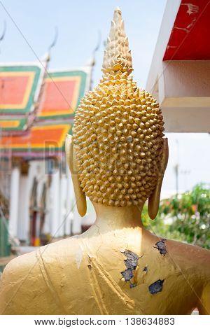 Gold buddha statue in Wat King Kaew Samutparkarn Thailand