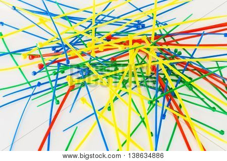 Multicolor Nylon Cable Ties on a white background.