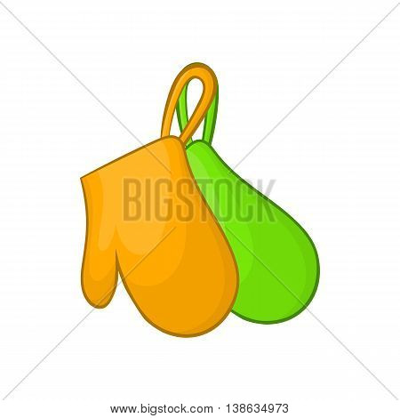 Green and orange kitchen gloves icon in cartoon style on a white background