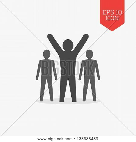 Man With Raised Hands, Leadership, Success Icon. Flat Design Gray Color Symbol. Modern Ui Web Naviga