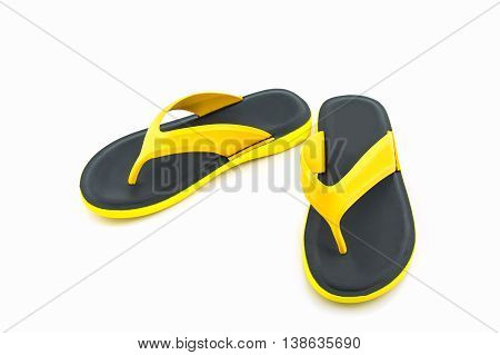 Colorful of Sandals shoes. Yellow color and black color flip flops on white background.