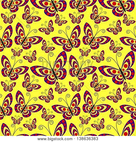 Seamless Vector Pattern With Insects, Background With Butterflies