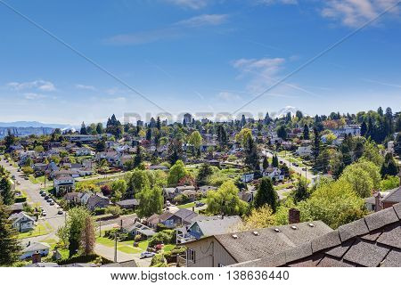 Beautiful View Of American City In Washington State, Usa.